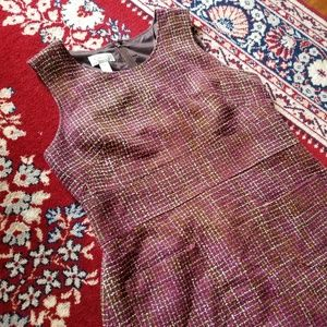 Talbots Pink Brown Tweed Sleeveless Dress Sz 14